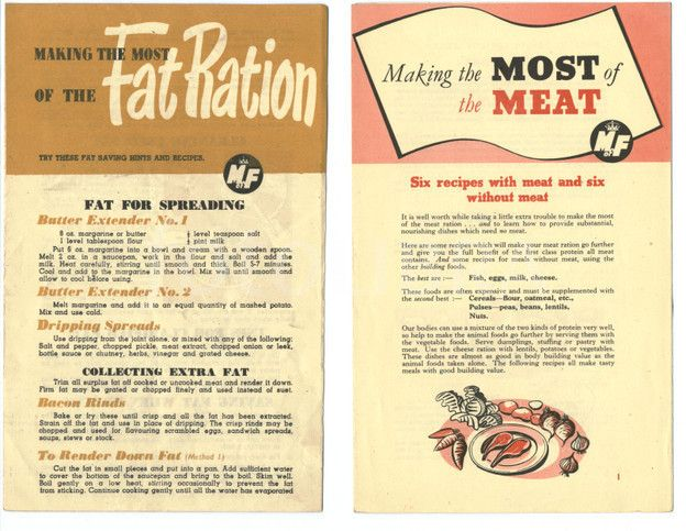 Ministry of Food Wartime Leaflets how to use your Meat and Fat rations
