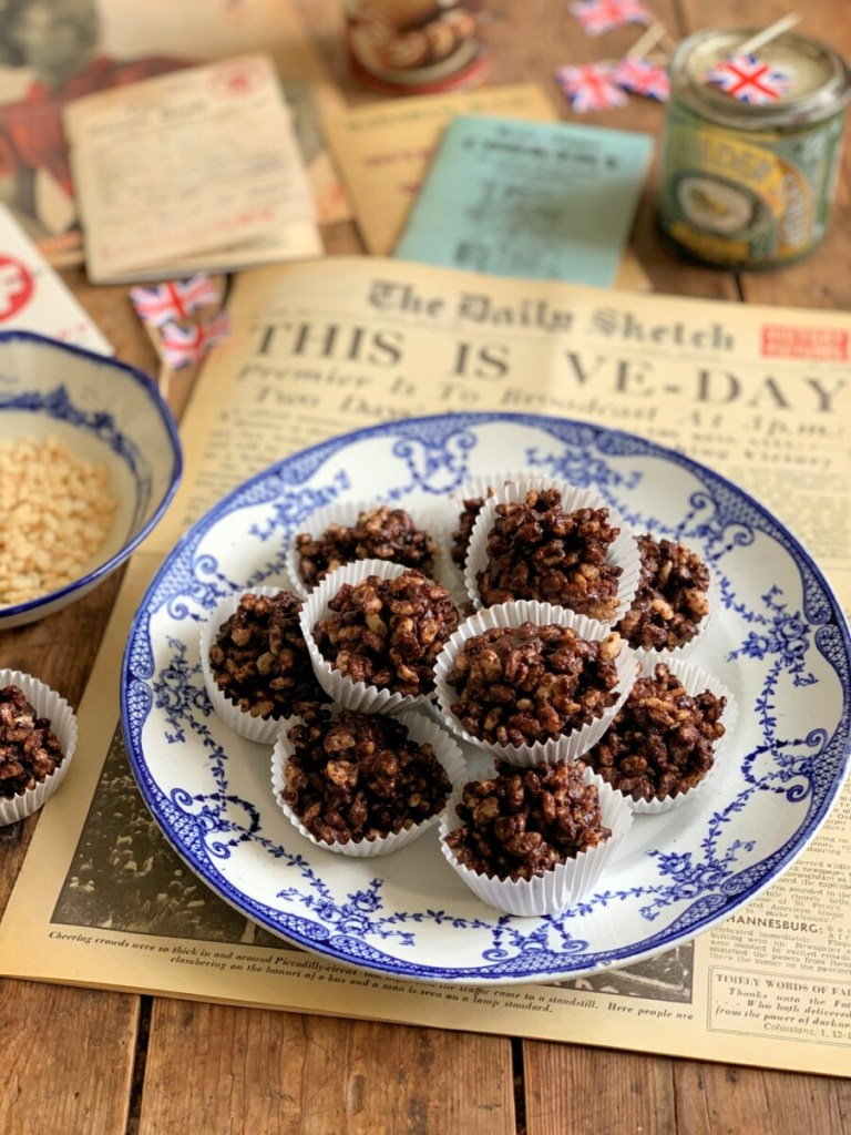 Chocolate Crispy Cakes for VE Day