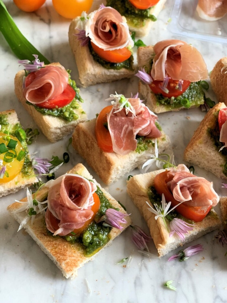 Parma Ham Crostini with Pesto