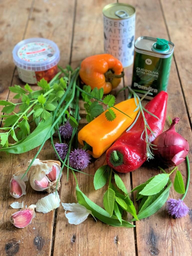 "Sourdough ""Focaccia Garden"" Ingredients"