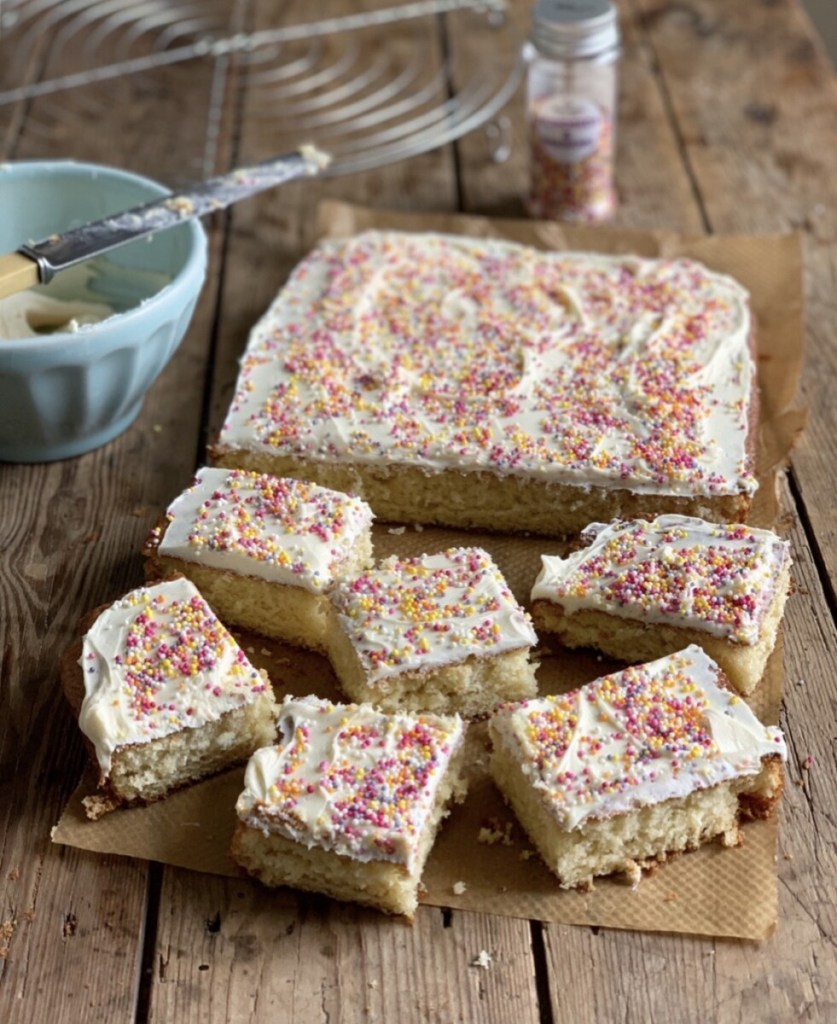 Retro School Dinner Iced Tray Bake Cake