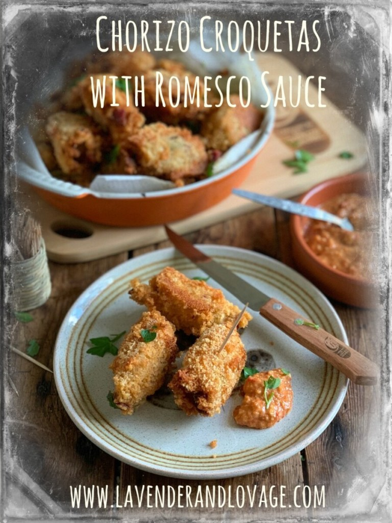 Chorizo Croquetas with Romesco Sauce
