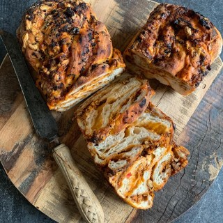 Cheese, Red Pepper Pesto & Walnut Babka