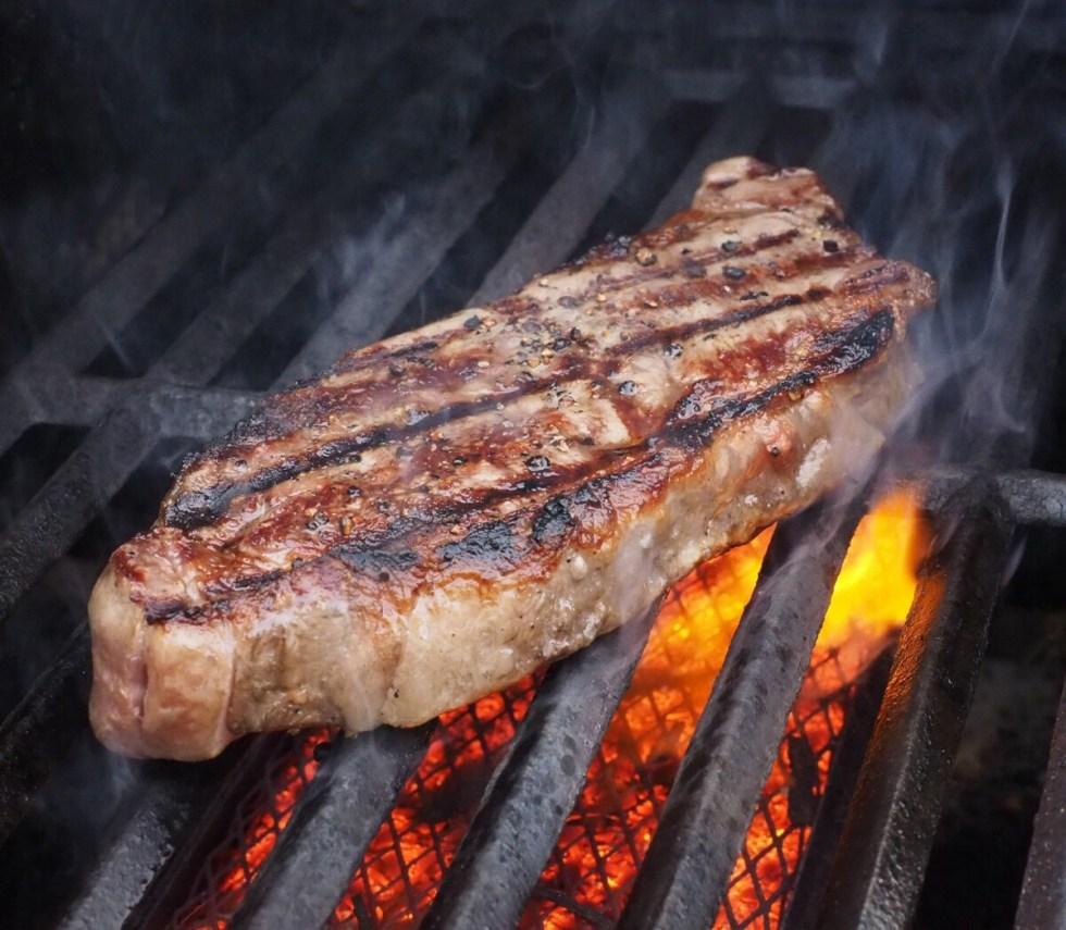 BBQ Steak over coals