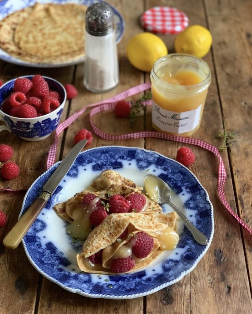 Lemon Curd & Raspberry Crêpes for La Chandeleur