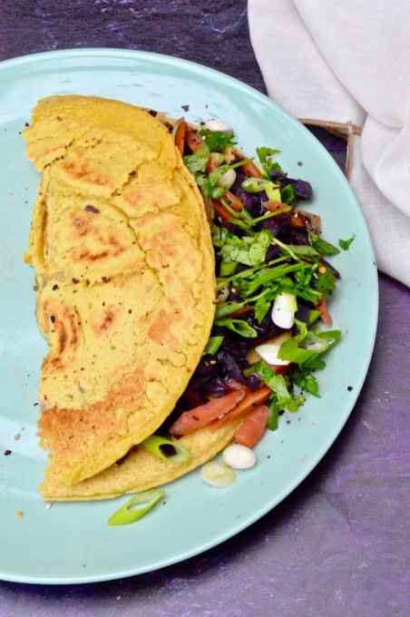 Vegan Omelette with Cabbage: Asian Style by Tin & Thyme