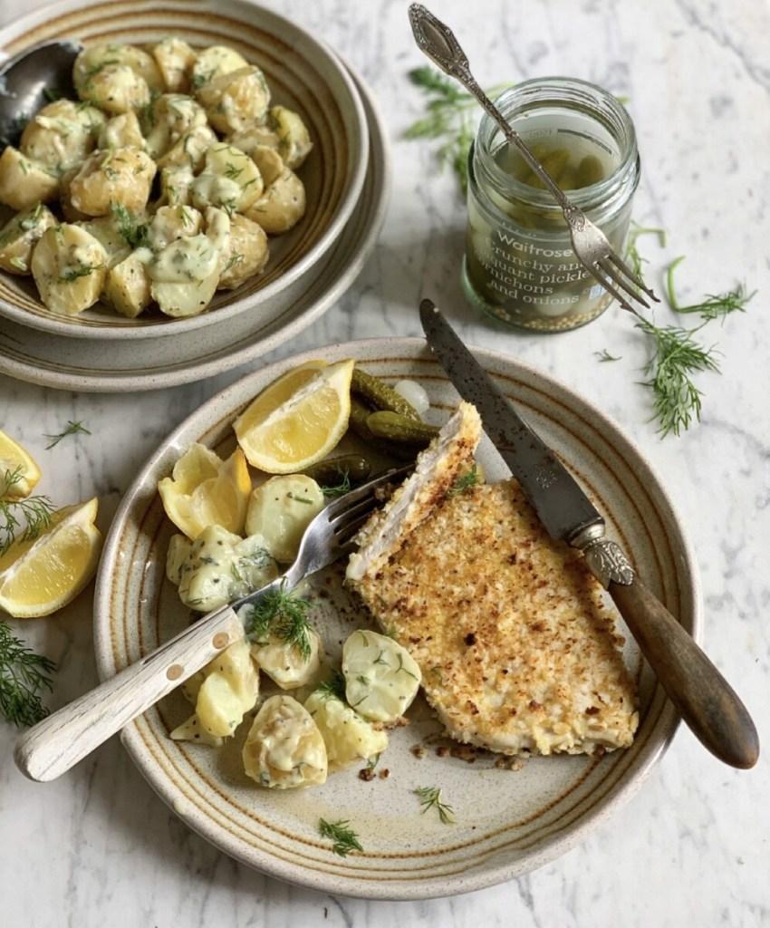 Turkey Schnitzel with Lemon & Dill Potatoes