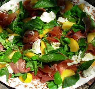 Salad Days ~  Peach and Serrano Ham Salad with Mozzarella and Basil