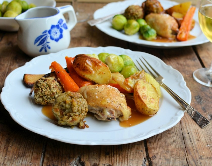 Midweek Roast Chicken Dinner, Cider & Onion Soup with Cheese Croutons and PIE!