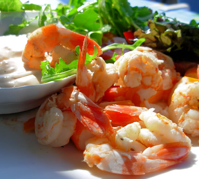 Old Bay Prawns or Shrimp in Wine with a Spicy Creamy Dip