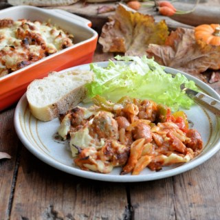 Spicy Sausage Pizza Pasta Bake