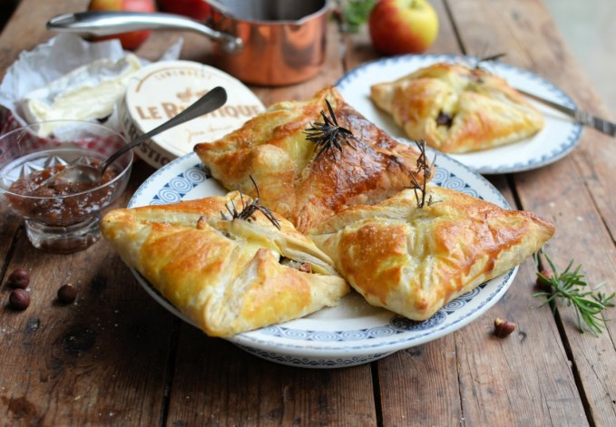 Camembert and Hazelnut Parcels with Quick Fruit and Honey Chutney