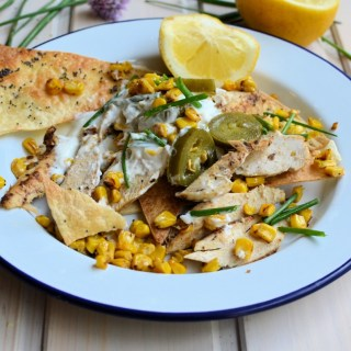 Chicken & Corn Nachos with Jalapeno Dressing