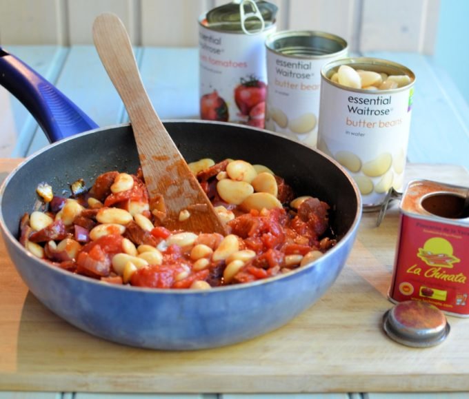 Smoky Chorizo and Butter Bean Hot Pot - An easy, hearty and comforting dish that uses handy store cupboard ingredients, such as tinned tomatoes and beans.