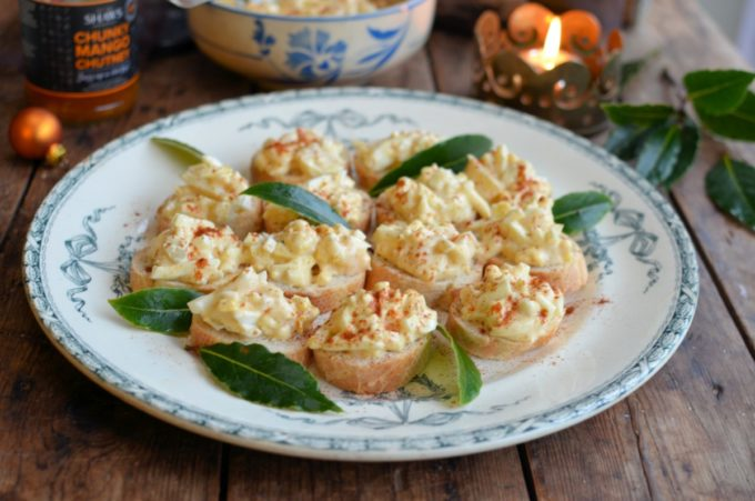 Devilled Egg Baguette Bites: Easy to make, and even easier to eat, these Retro inspired Devilled Egg Baguette Bites have only 5 ingredients in them, and are on the table in under 10 minutes once the eggs have boiled, have cooled and been shelled.