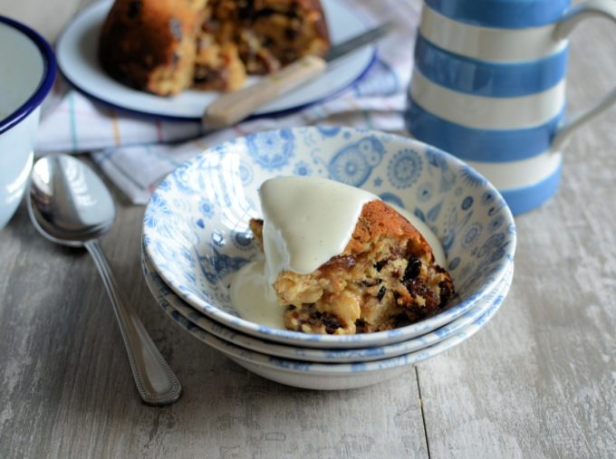 "Baked ""Cake Crumb"" Mincemeat Pudding - Based on the traditional College Pudding, this pudding uses Panettone cake crumbs as part of the ingredients, as well as mincemeat, all left over from Christmas; serve with vanilla custard for a delicious & thrifty winter pudding."