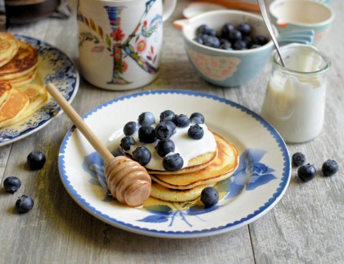Vanilla Honey Pikelets with Blueberries & Yogurt