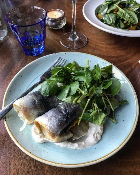 Roll mops with horseradish cream and watercress