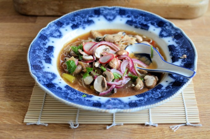 Hot and Sour Chicken Soup with Quick Pickled Mushrooms, Radishes and Red Onion