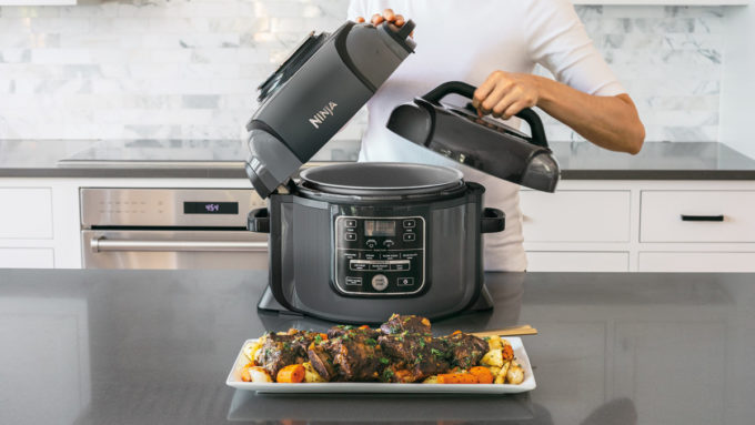 Cook up to 70% faster¹ in the Ninja Foodi – the only pressure cooker that crisps. Exclusive TenderCrisp Technology cooks and crisps food to golden-brown perfection. Multiple cooking functions in one pot. Pressure cook up to 70% faster¹ than traditional cooking methods. Air fry crispy fried food with up to 75% less fat² than deep frying. Slow cook, steam, sear, sauté, bake, roast and grill tasty meals.
