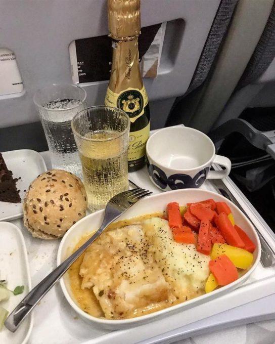Finnair Business Class Dinner