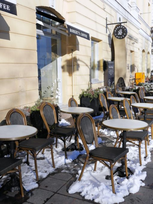 Helsinki Pavement Cafe in the snow