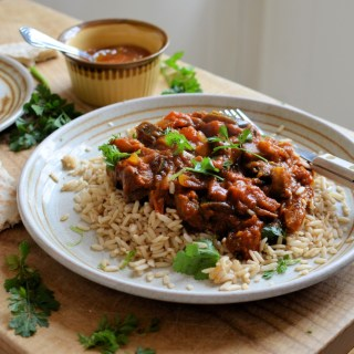 Aubergine & Tomato Curry with Indian Flatbreads