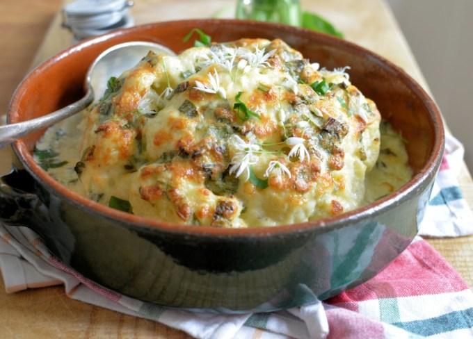 Cauliflower cheese and wild garlic