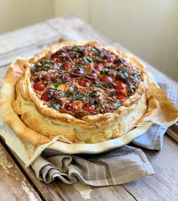 Wild Garlic & Three Cheese Tomato Tart