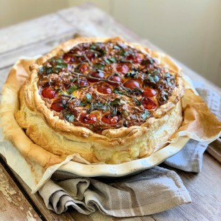 Wild Garlic & Three Cheese Tomato Tart
