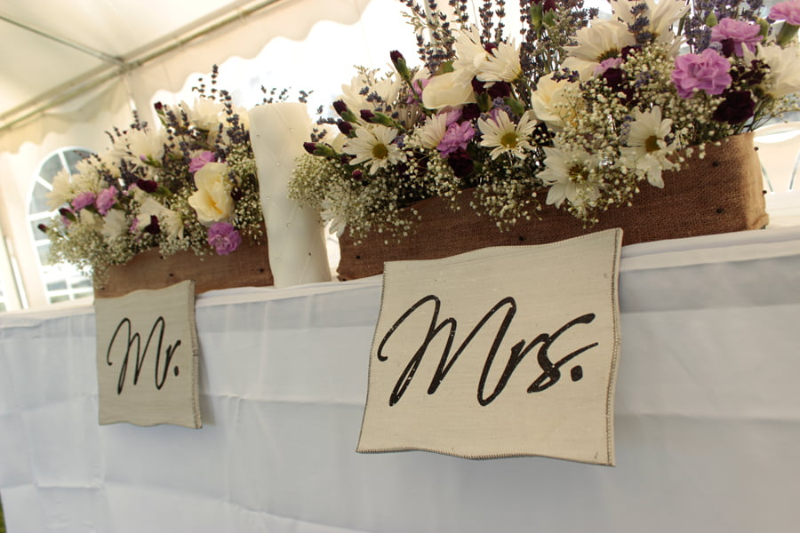 Reserved table for Bride and Groom.