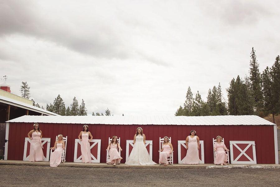 Bride and Bridesmaids In A Row