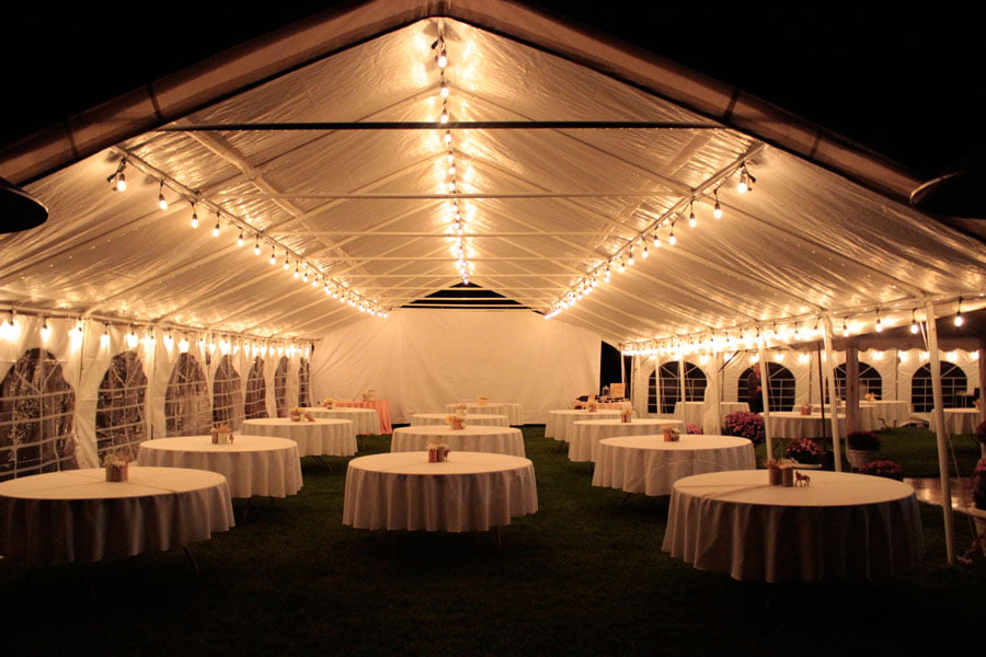 Reception Tent Fully Lit At Night