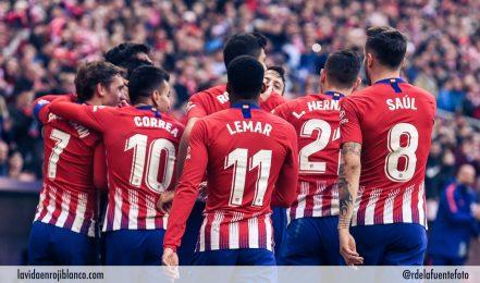 El equipo celebra un gol frente al Athletic. Foto: Rubén de la Fuente