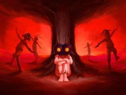 Los Niños Lunares y Skull Kid con sus respectivas máscaras