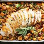 Relleno vegetariano para pavo y res para la cena navideña
