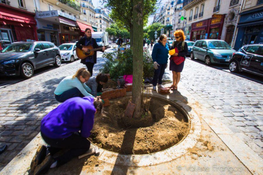 En musique et avec le sourire, toute l'équipe travaille dur pour embellir ce 5ème pied d'arbre de le rue de Bazeilles.