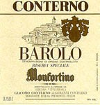 Etichetta di Barolo Monfortino dell'azienda Conterno