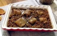 Lenticchie di Colfiorito con involtini di cotenne di maiale e Bonarda frizzante dell'Oltrepò Pavese