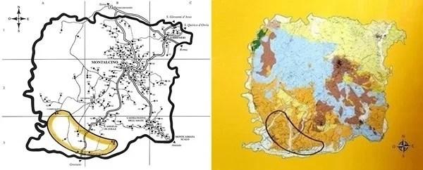 La zona più calda d'estate in evidenza sulla mappa stradale e sulla carta geolitologica di Montalcino