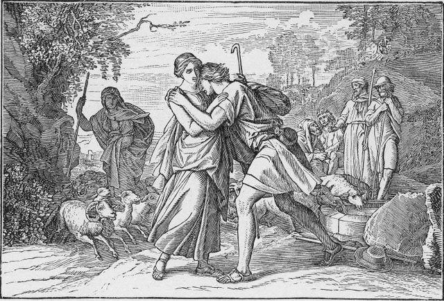 Jacob meeting Rachel Genesis 29:10-12