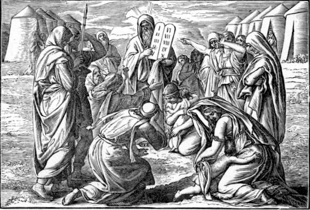 Moses Bringing the New Stone Tablets with the Law Exodus 34:29-31