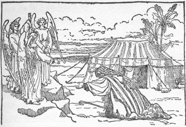 Abraham entertains angels [Note picture is inaccurate] Genesis 18:2