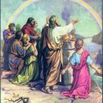 Noah offers a sacrifice and God gives a rainbow as a sign of His covenant Genesis 8:20-9:17