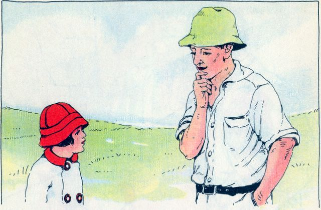 Little boy thanking the farmer for his new coat