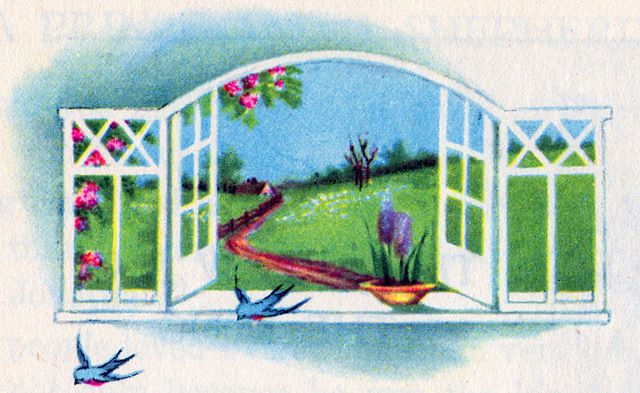 Window on a spring country scene with birds flying in