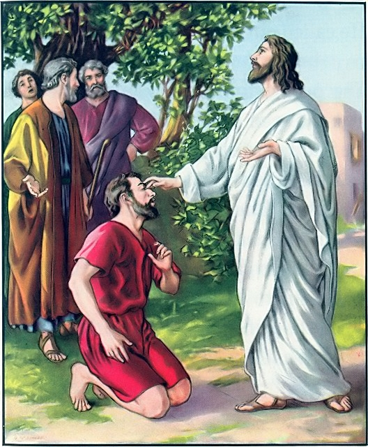 Jesus touched the eyes of a blind man and he saw Mark 8:22-25
