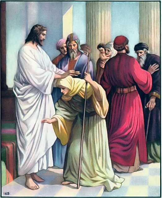 A woman bent with infirmity was healed by Jesus Luke 13:11-13