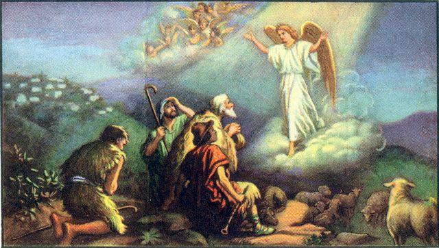 Angels announce the Savior's birth to shepherds Luke 2:8-14