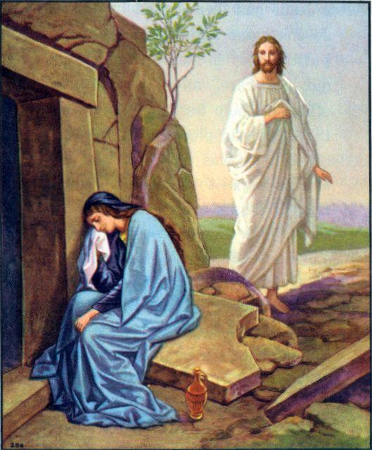 Mary weeping at the tomb John 20:11-15